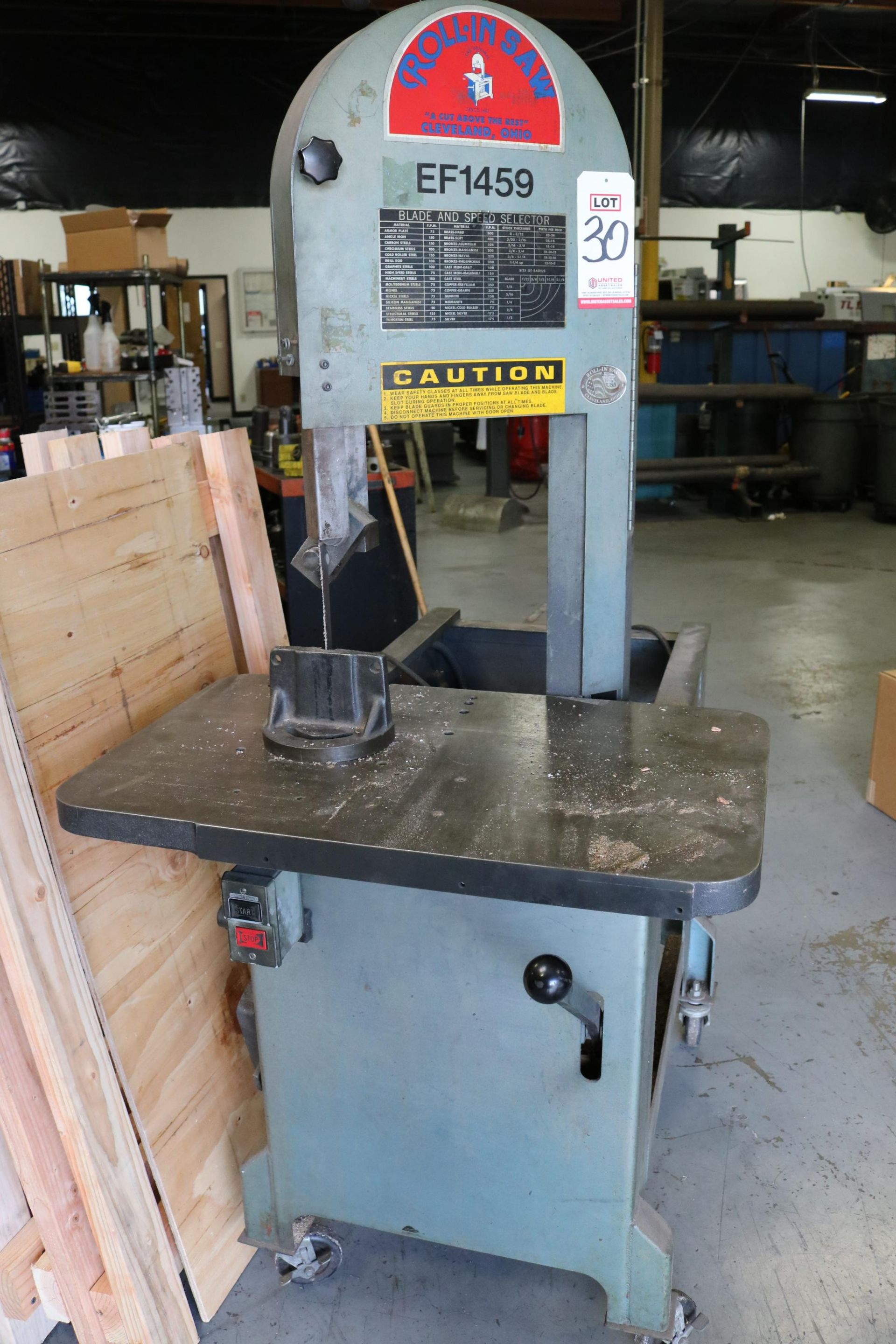 """Lot 30 - ROLLIN EF-1459 VERTICAL BAND SAW, 18.5"""" X 30"""" TABLE, PORTABLE"""