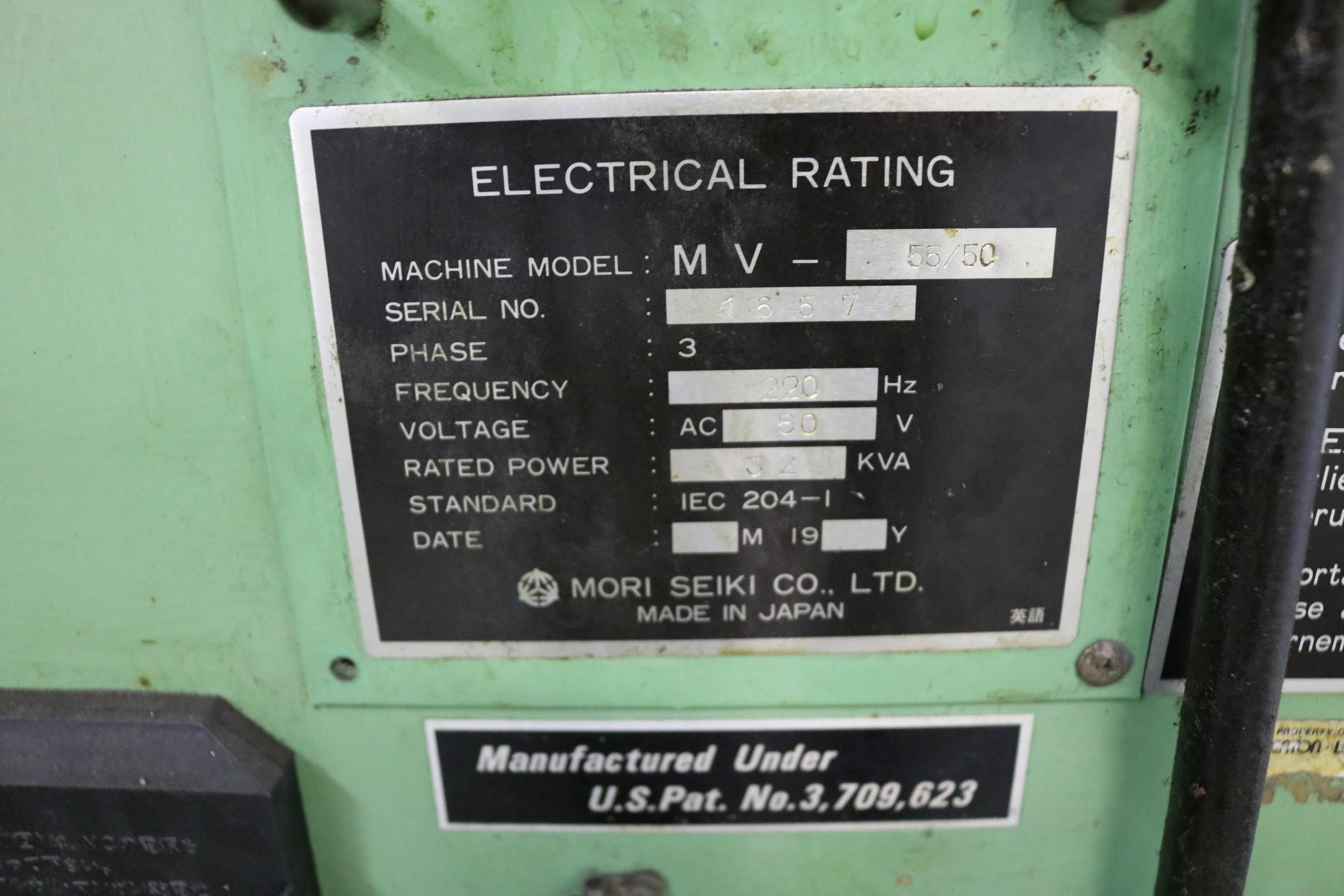 "Lot 6 - MORI SEIKI MV-55/50 CNC VERTICAL MACHINING CENTER, TRAVELS: 41"" X 21"" X 22"", 55"" X 21"" TABLE, 4000"