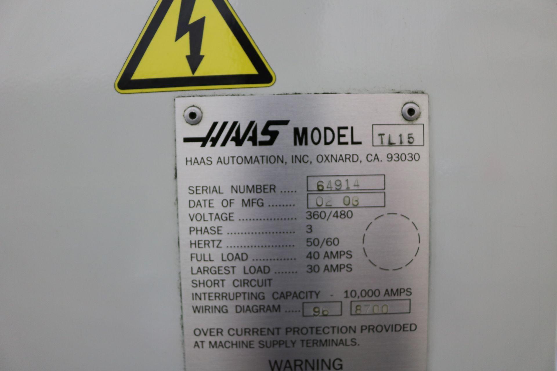 "Lot 19 - 2006 HAAS TL-15 CNC TURNING CENTER, 10"" 3 JAW CHUCK, 23"" SWING, 9.5"" SWING OVER CROSS SLIDE, 2"""