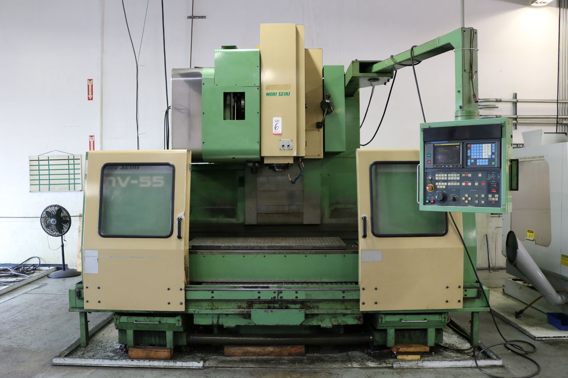"Lot 6 - MORI SEIKI MV-55/50 CNC VERTICAL MACHINING CENTER, TRAVELS: 41"" X 21"" X 22"", 55"" X 21"" TABLE, 4000"