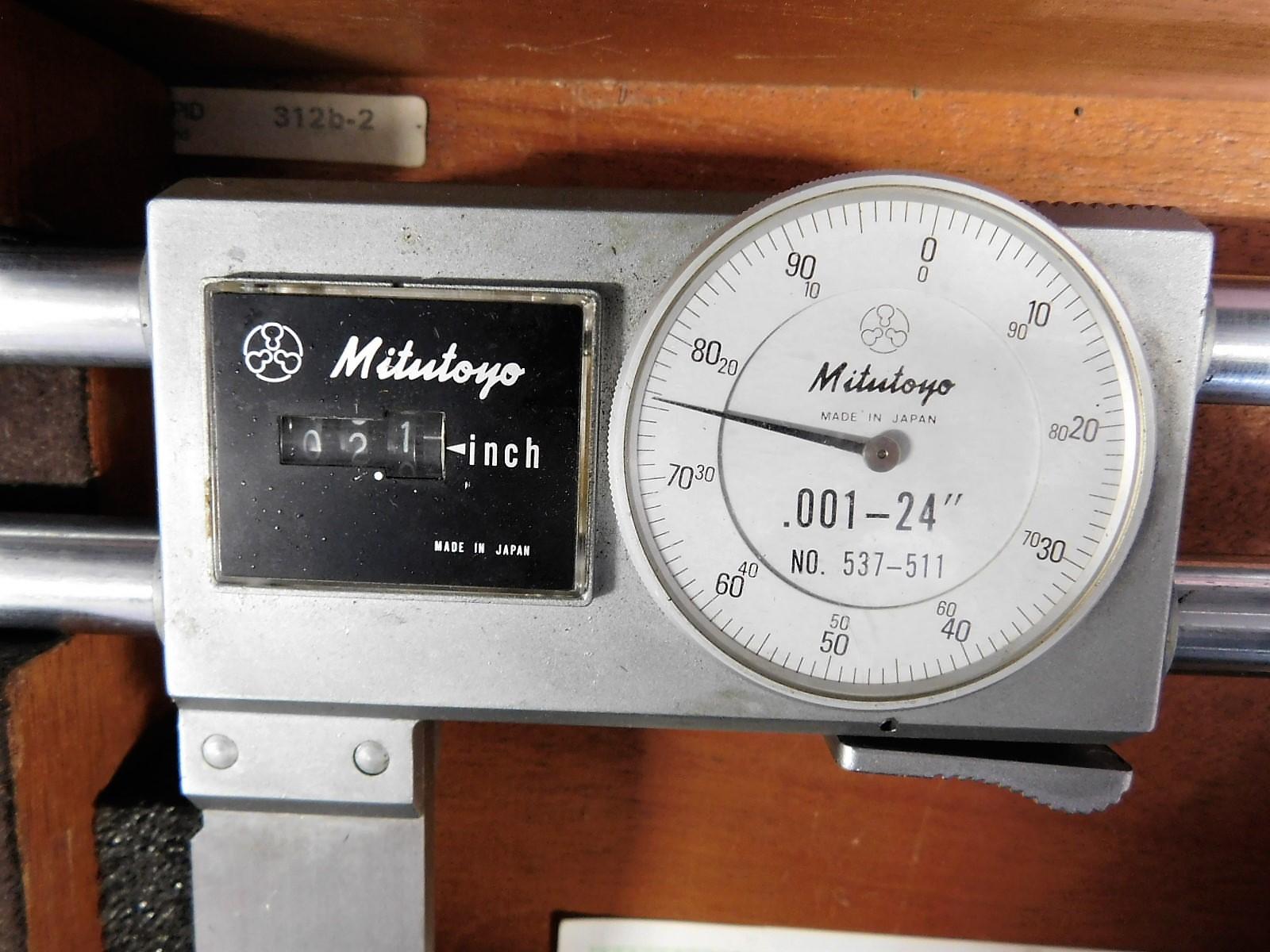 """Lot 49 - MITUTOYO NO. 537-511, DIGIT DIAL 0-24"""" INSIDE CALIPER, W/ CASE"""