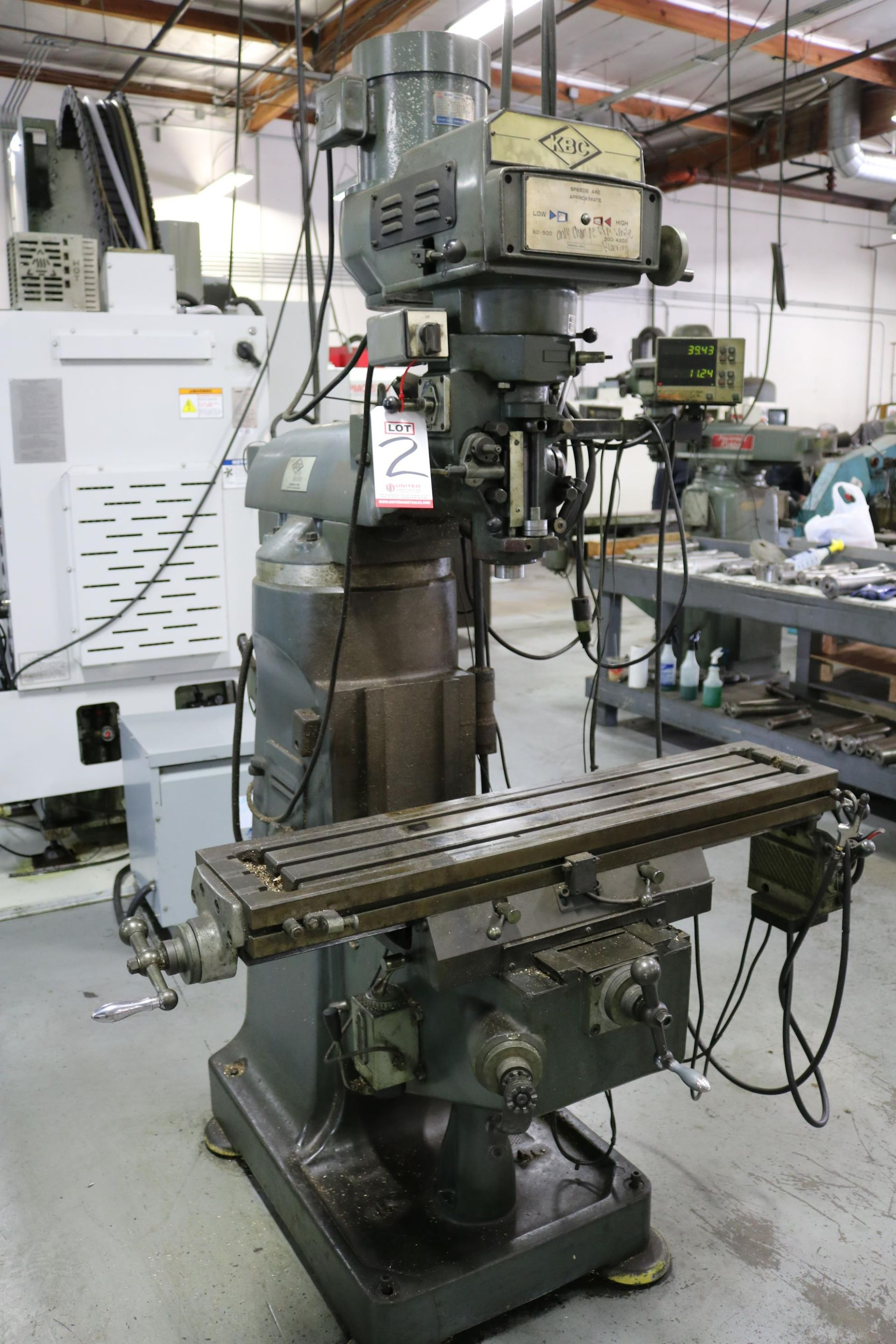 """Lot 2 - KBC VERTICAL MILL, 9"""" X 42"""" TABLE, POWER FEED, VARIABLE SPEED, 60-4200 RPM, MITUTOYO DRO"""