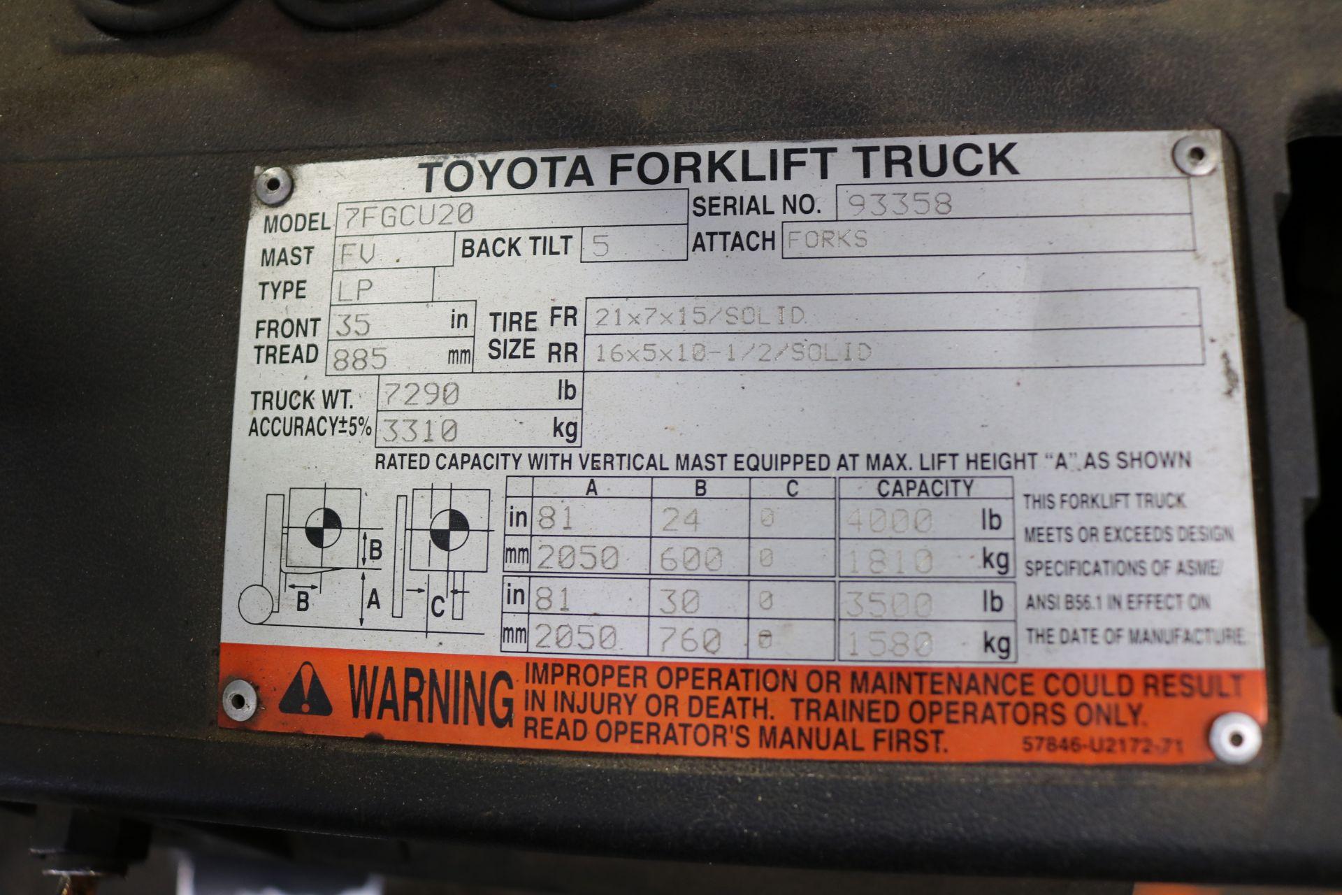 Lot 29 - TOYOTA FORKLIFT, MODEL 7FGCU20, 4,000 LB CAPACITY, LPG, S/N 93358