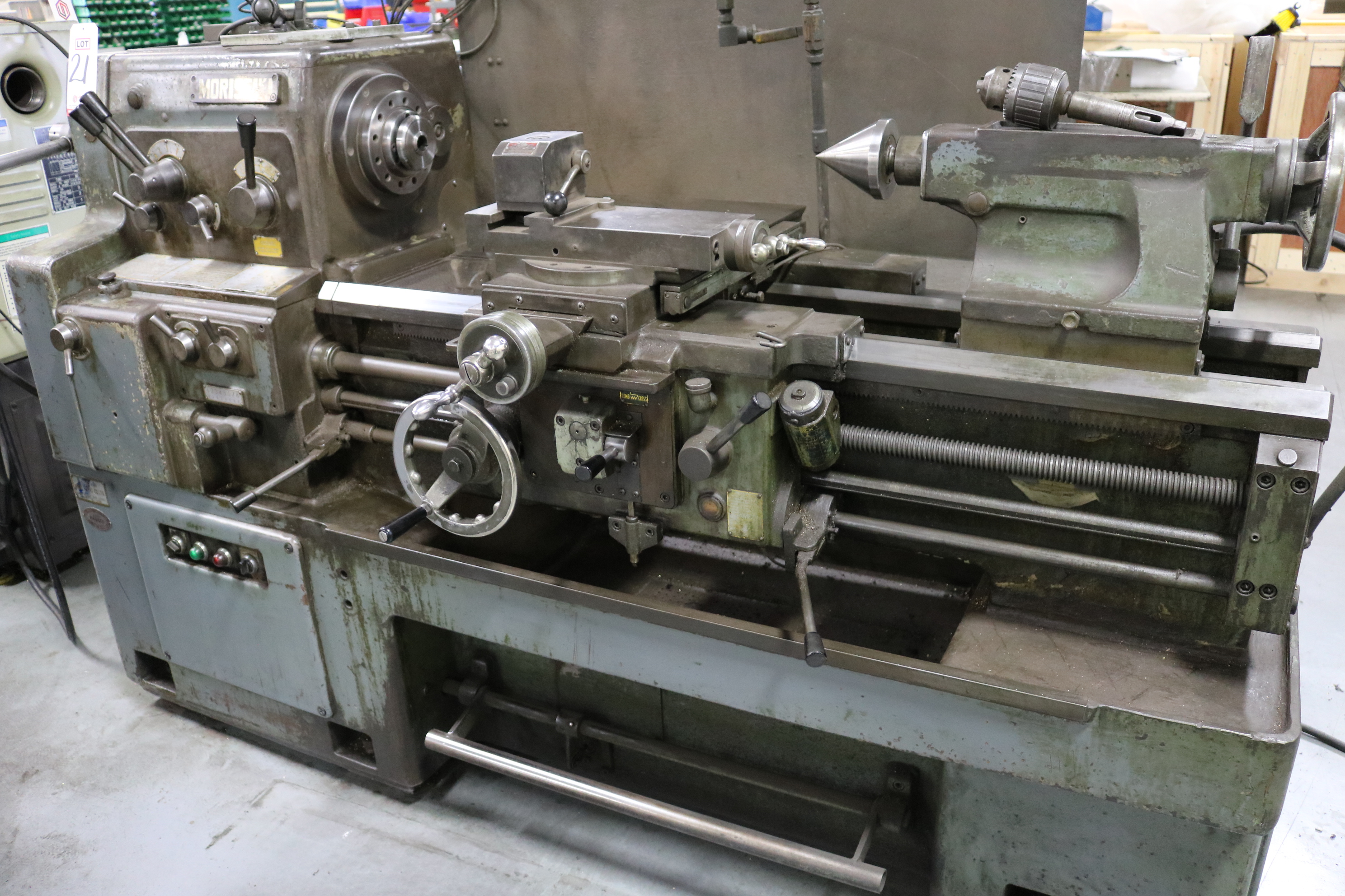 "Lot 21 - MORI SEIKI M-850G ENGINE LATHE, GEARED HEAD GAP BED, 17"" X 33"" CC, 2"" HOLE THRU, 5 HP, DRO,"