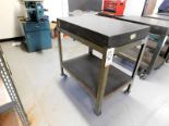 "Lot 52 - GRANITE SURFACE PLATE, 24"" X 36"" X 4"", GRADE B, W/ ROLLING STAND, 40"" WORK HEIGHT"