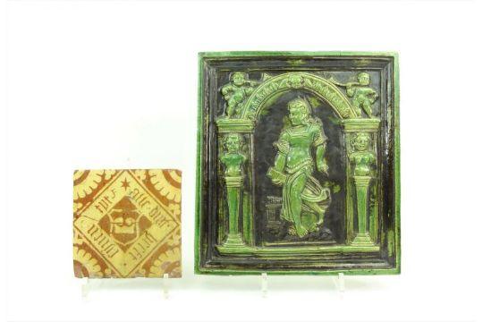 Tegel Met Tekst : Majolica tegel met slibdecor van tekst in vierkant 17e eeuw en