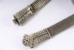 Zilveren Judaica ceintuur. L: 75 cm. Gewicht: 91 g.