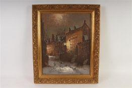 Schilderij op doek 'Wintergezicht', gesigneerd F. de Jong. HxB: 49 x 38.5 cm.