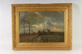 Dirk Roggeveen (1872-1955) Schilderij, olieverf op doek 'Dorpsgezicht', gedateerd 1908. HxB: 44 x 63