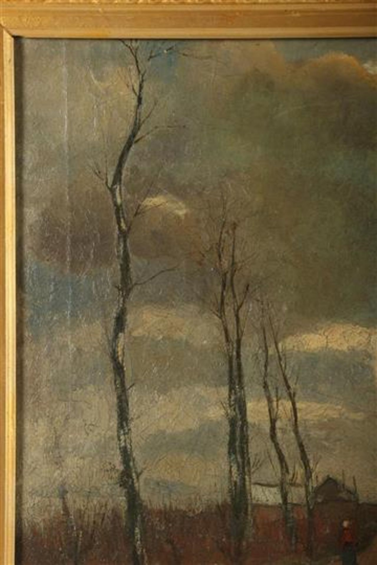 Los 57 - Dirk Roggeveen (1872-1955) Schilderij, olieverf op doek 'Dorpsgezicht', gedateerd 1908. HxB: 44 x 63