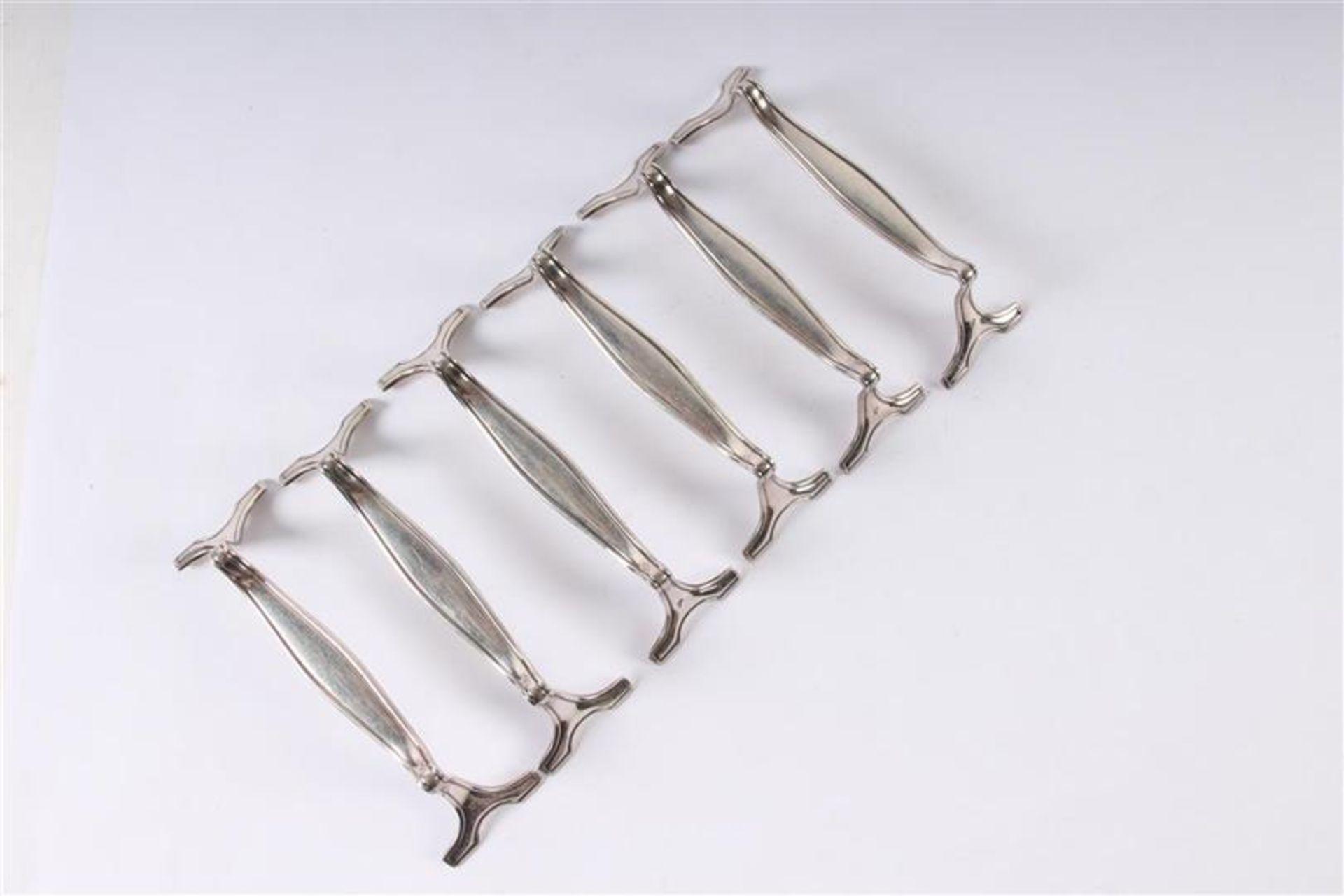 Los 53 - Set van zes viscouverts, diencouvert en zes messenleggers, gemerkt AWS 800. Gewicht: 883 g.