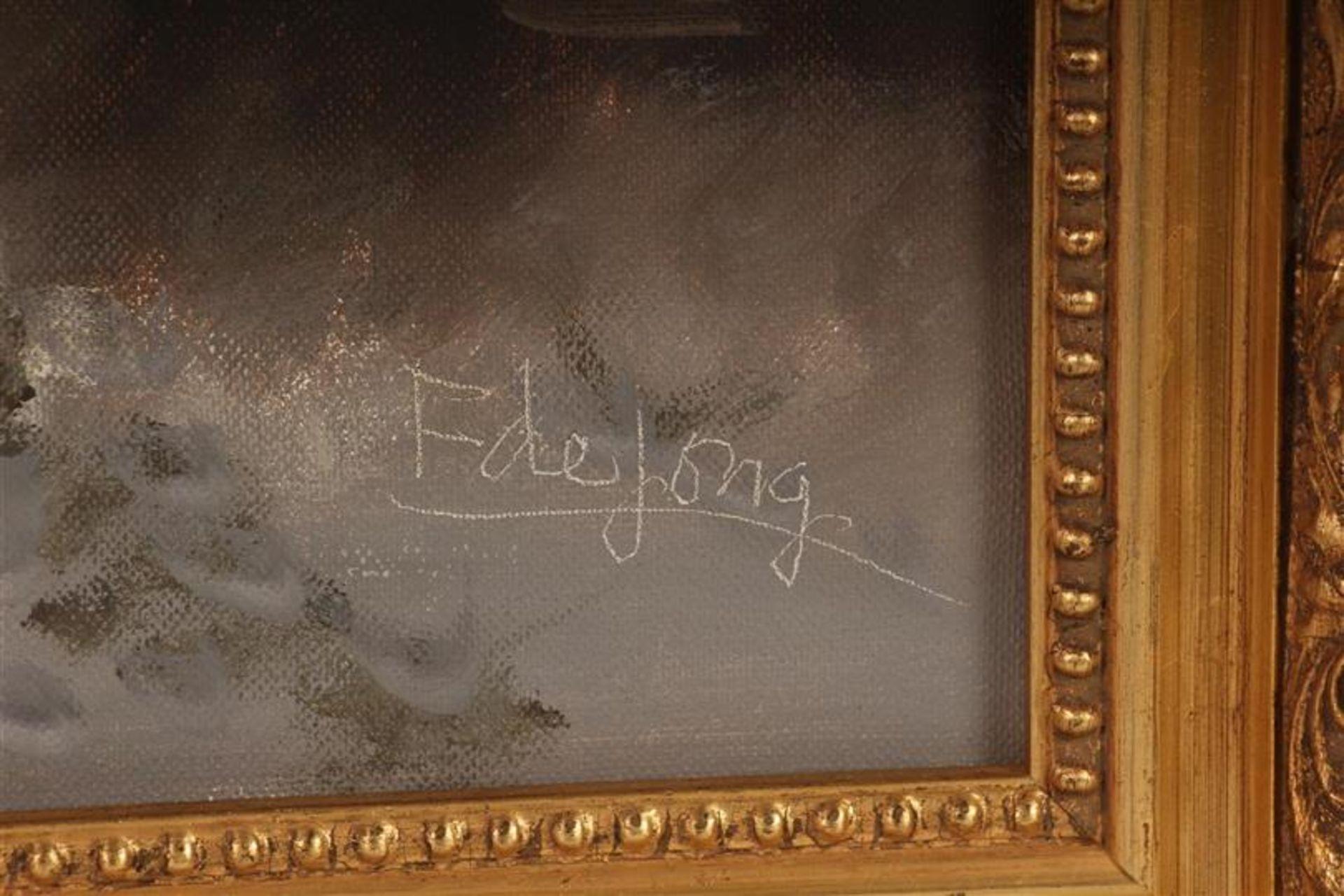 Los 27 - Schilderij op doek 'Wintergezicht', gesigneerd F. de Jong. HxB: 49 x 38.5 cm.