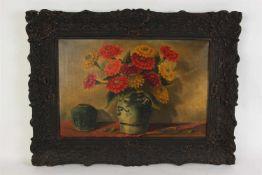 J.H. Maas Schilderij op doek 'Stilleven met gemberpot en Keulse steengoed kan met bloemen'. Afm: