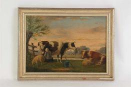 Schilderij olieverf op paneel 'Landschap met vee', gesigneerd C. van der Bijl, gedateerd 1861.