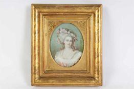 Portretminiatuur op ivoor, 19e eeuw, defect. Buitenmaat: 22 x 19 cm.