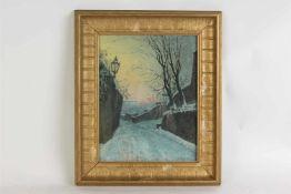 Aquarel 'Sneeuwlandschap', onduidelijk gesigneerd. Afm: 34 x 26 cm.