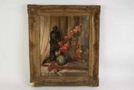 Hanssen, J Schilderij op doek 'Oosters stilleven', lijst met defect. Afm: 59 x 48.5 cm.