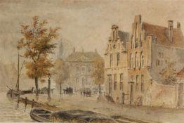 Aquarel 'Zicht op de kade', Hollandse school 19e eeuw. Afm: 16.5 x 28.5 cm.