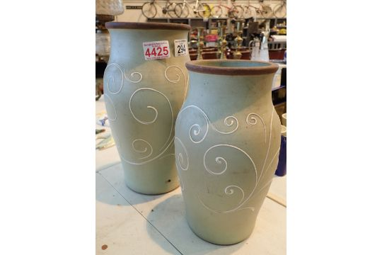 Pair Of Pale Green Denby Vases