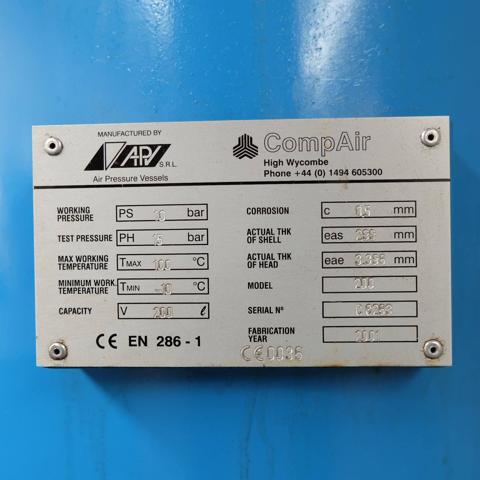 Lot 1 - A CompAir V07 Model 707PSAS07-4035S000 Rotary Air Compressor No.707-005803-0107, 1460rpm, 7.5kW with