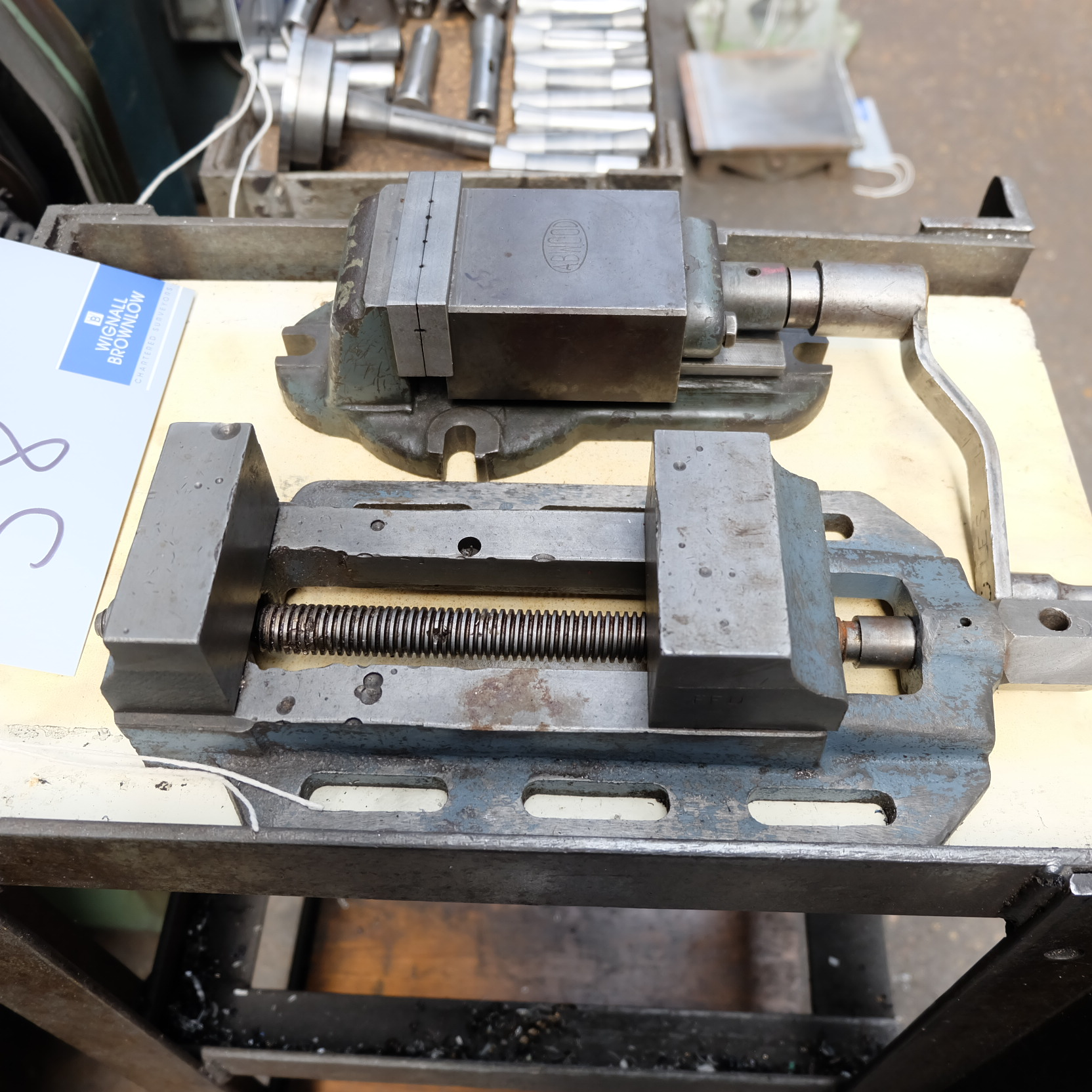 Lot 38 - An Abwood 3in Machine Vice with A 3.5in Drilling Vice.