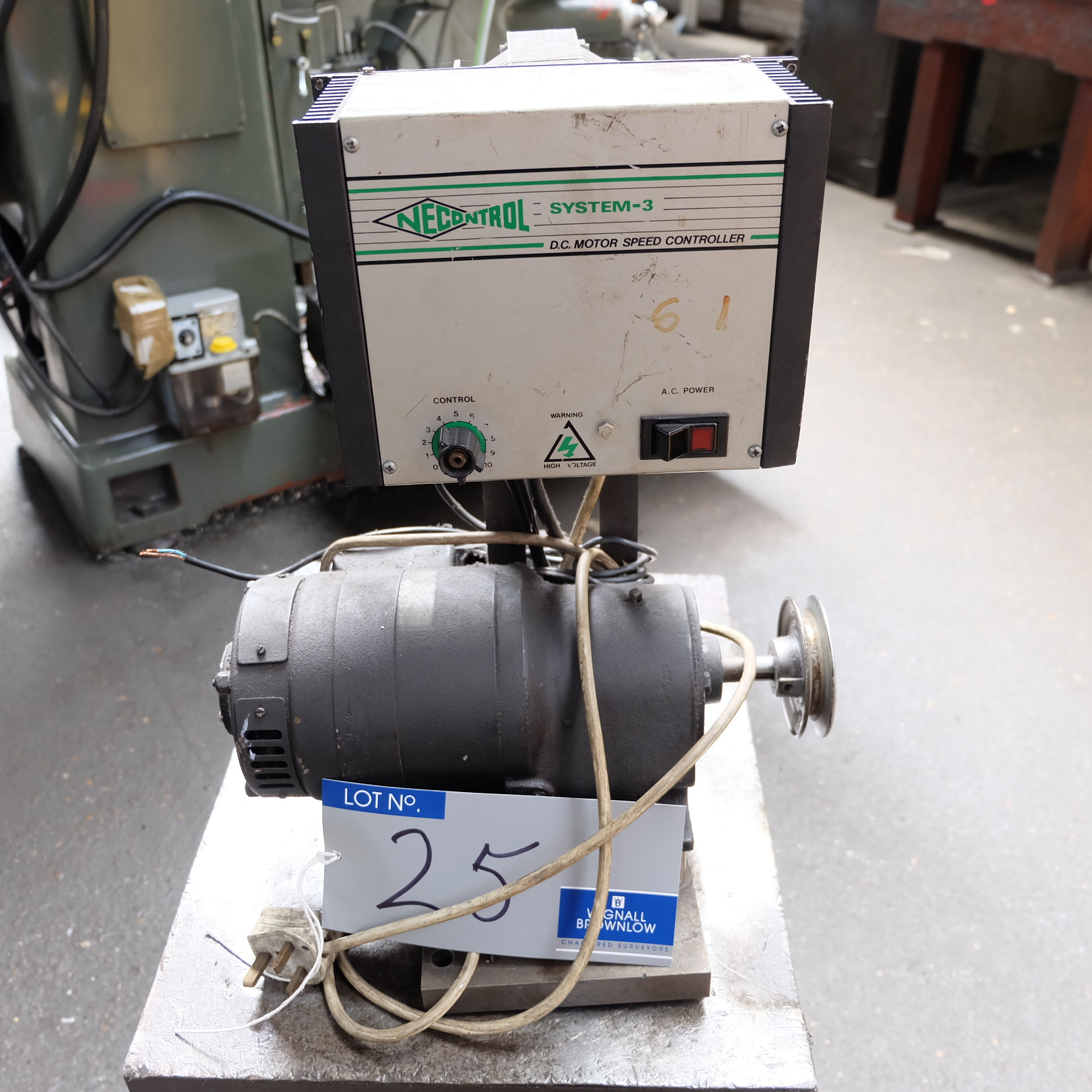 Lot 25 - A Motorised Belt Drive with Necontrol System 3 DC Motor Speed Controller (240v) and Stand.