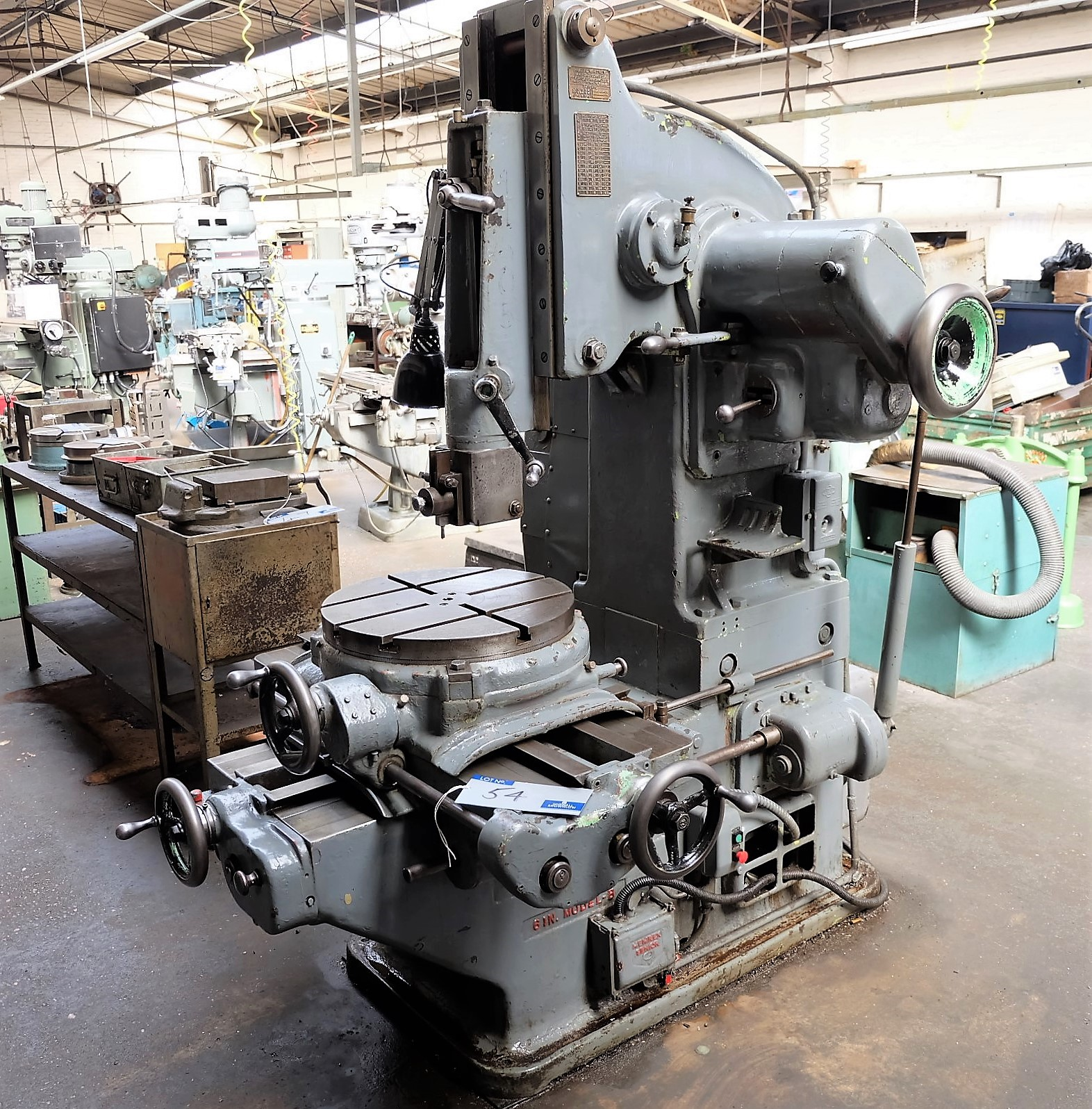 Lot 54 - A Pratt and Whitney Model B 6in Toolroom Slotting Machine, 19.5in dia table with machine light.