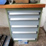 Lot 58 - A Bott Steel Framed Timber Top Workbench, 59in x 27in x 33in h with 5 sliding drawers.