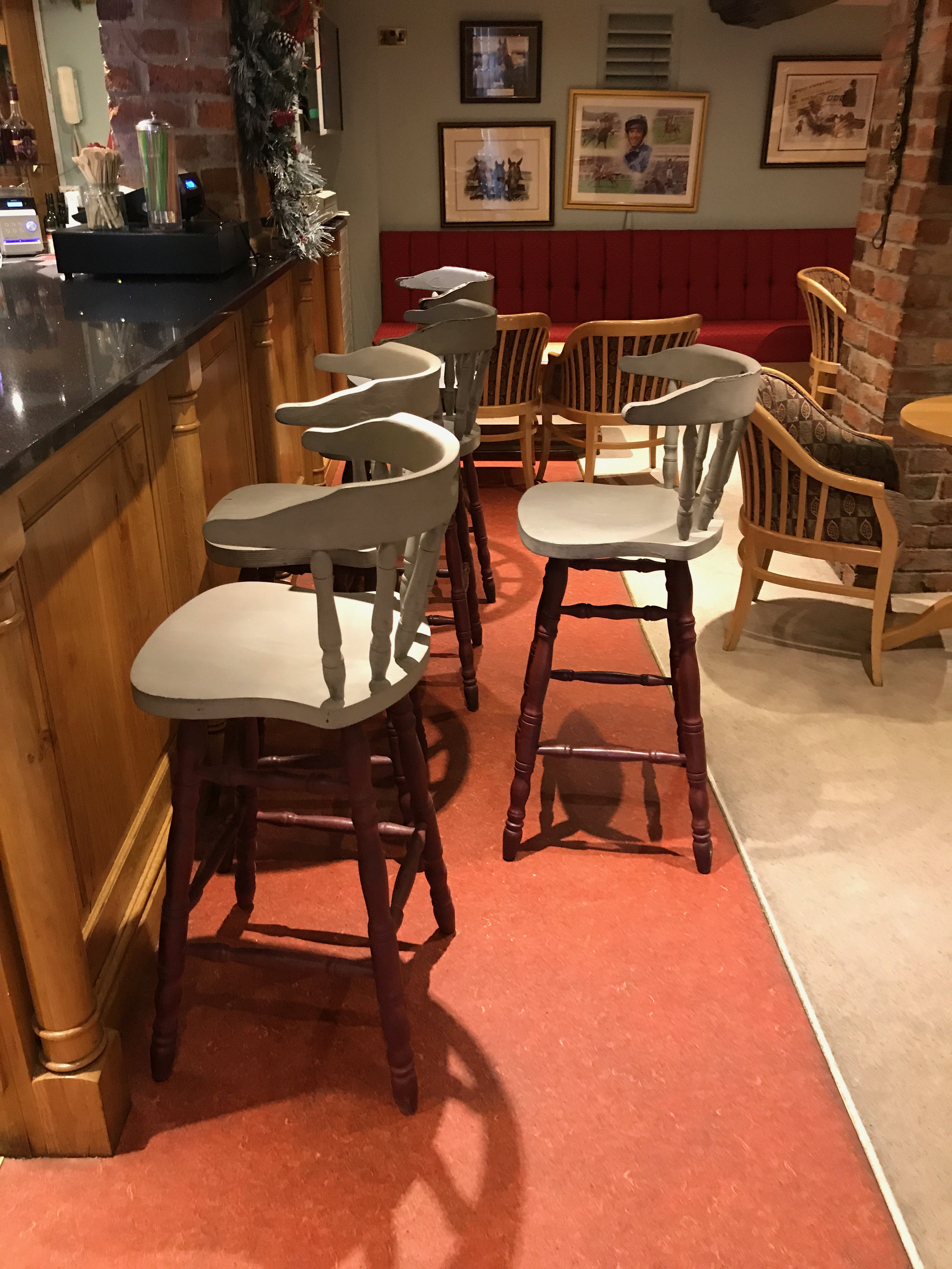 Bar Stools X5 Finished With A Grey Wooded Seat Mahogany