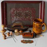 Vintage Retro Tray, Turned Wood, Hat Pins China. NO RESERVE