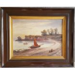 Antique Art Oil on Board Painting Nautical Theme Signed Lower Right