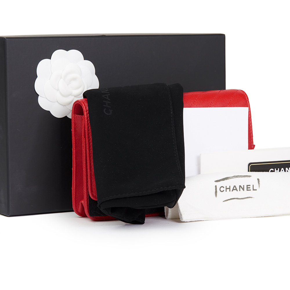 Chanel Red Chevron Quilted Caviar Leather Wallet On Chain