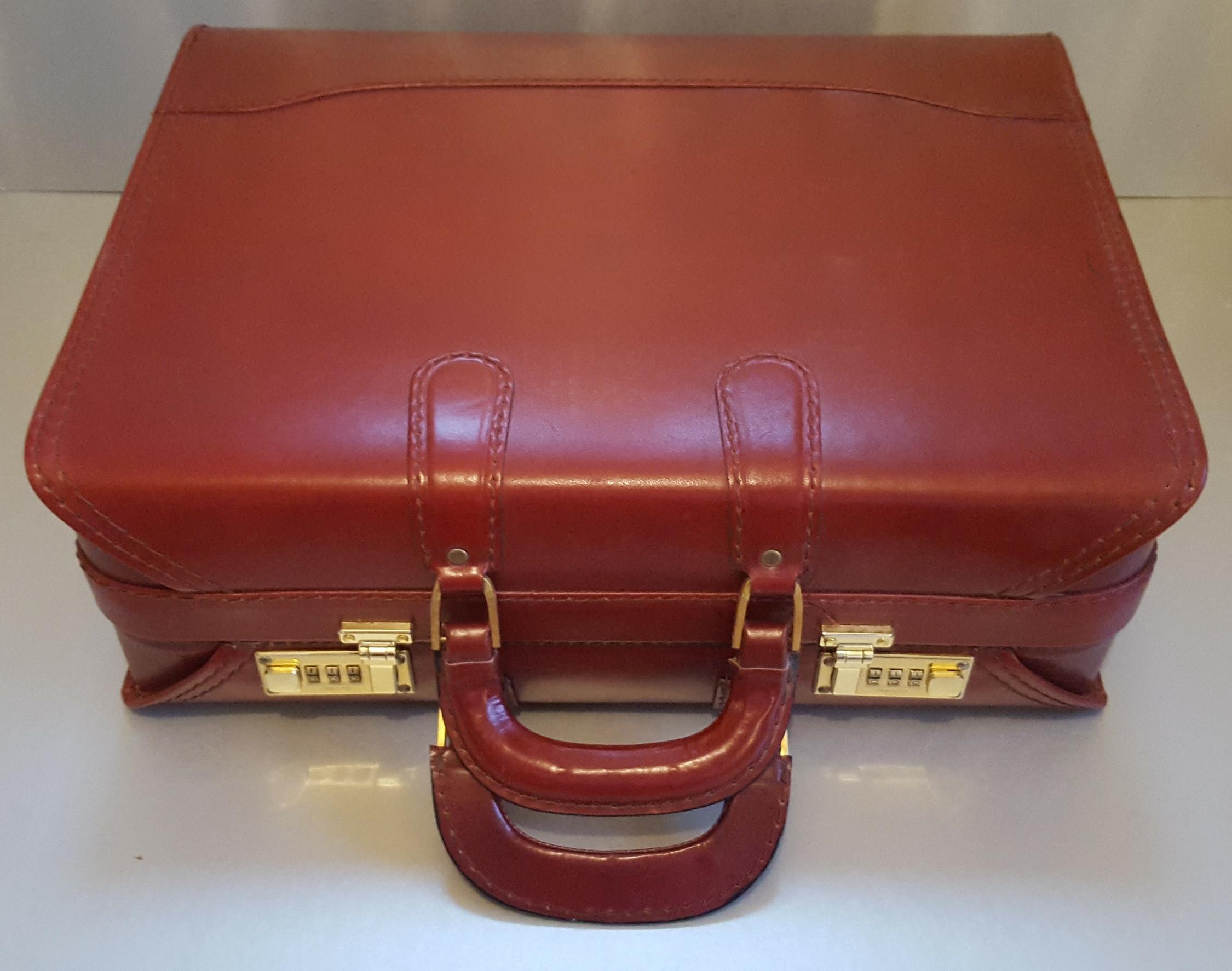 Lot 58 - Vintage Retro Custom Red Leather Brief Case Presto Combination Lock (Unlocked)