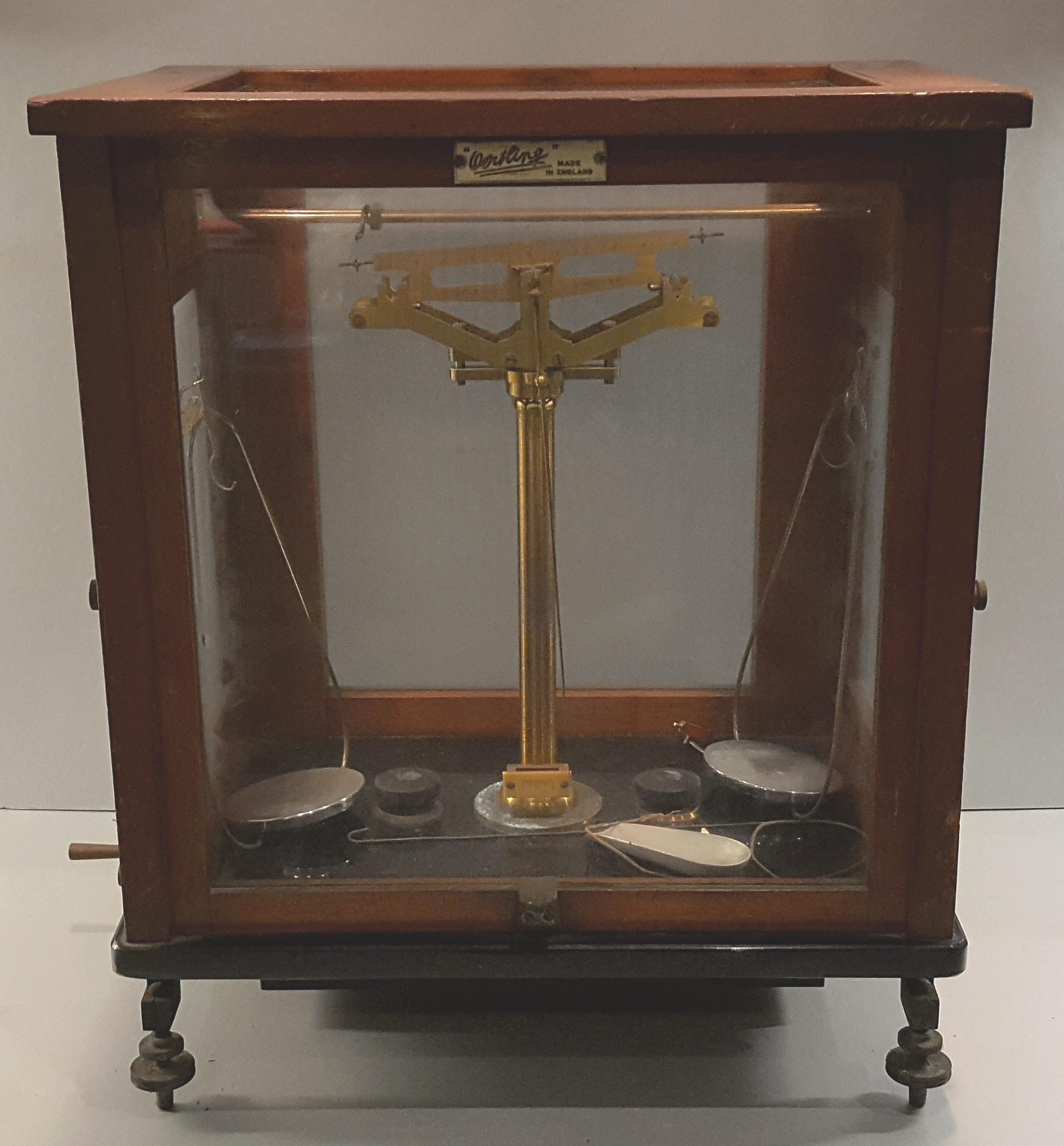 Lot 8 - Antique L Oertling Scientific Scales in Glass Oak Framed Case.