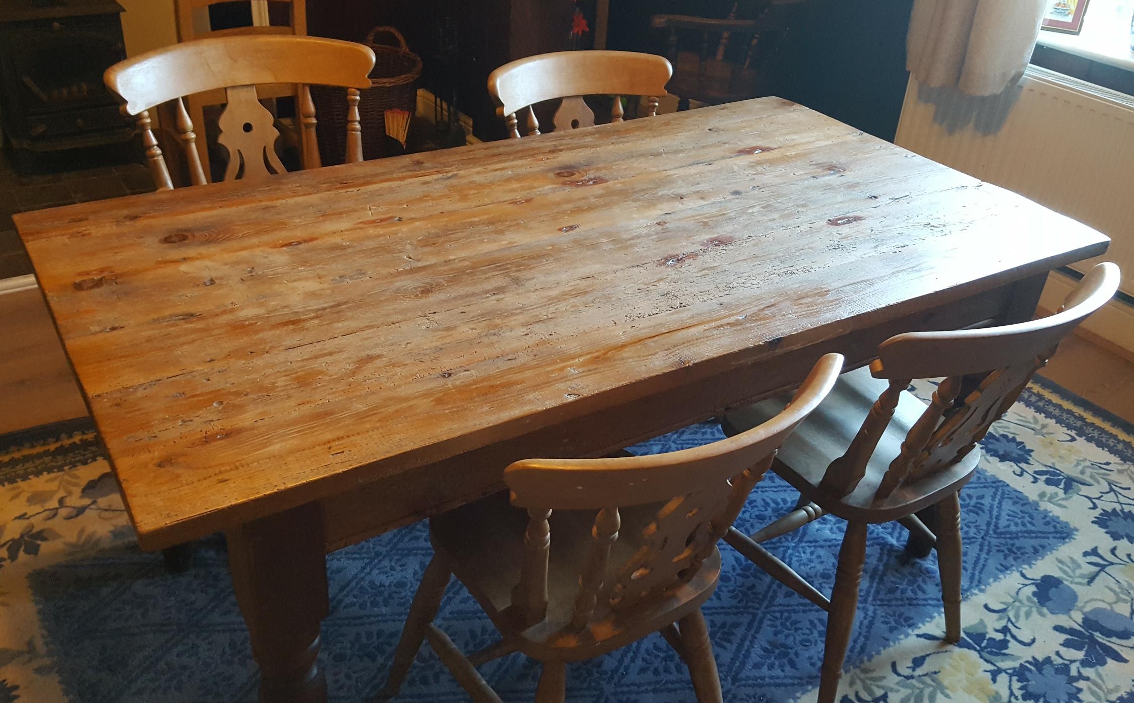 Lot 23 - Vintage Farmhouse Table & Chairs