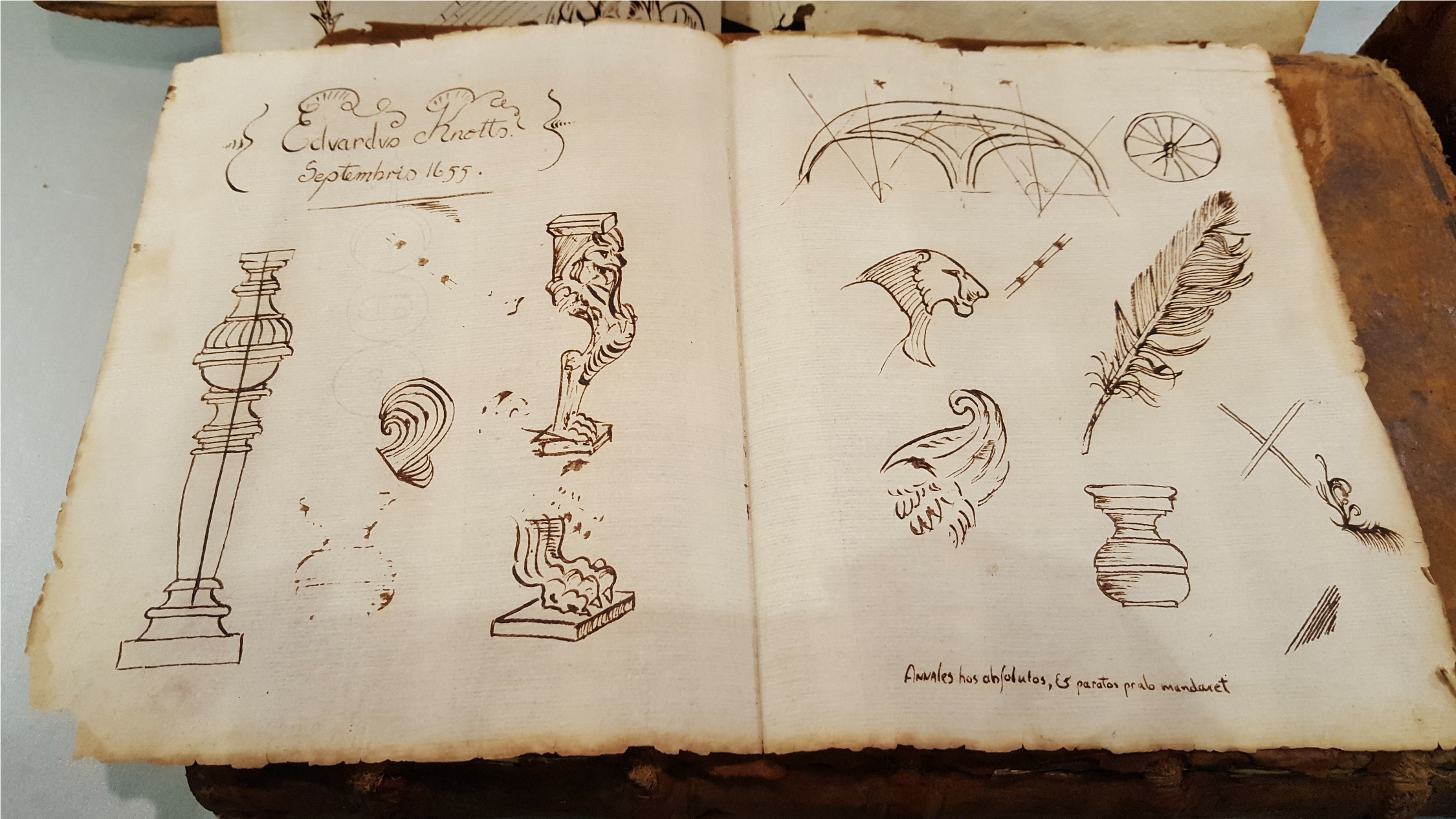 Lot 16 - Antique 1655 Drawings Signed Edward Knotts Possibly A Jesuit Priest