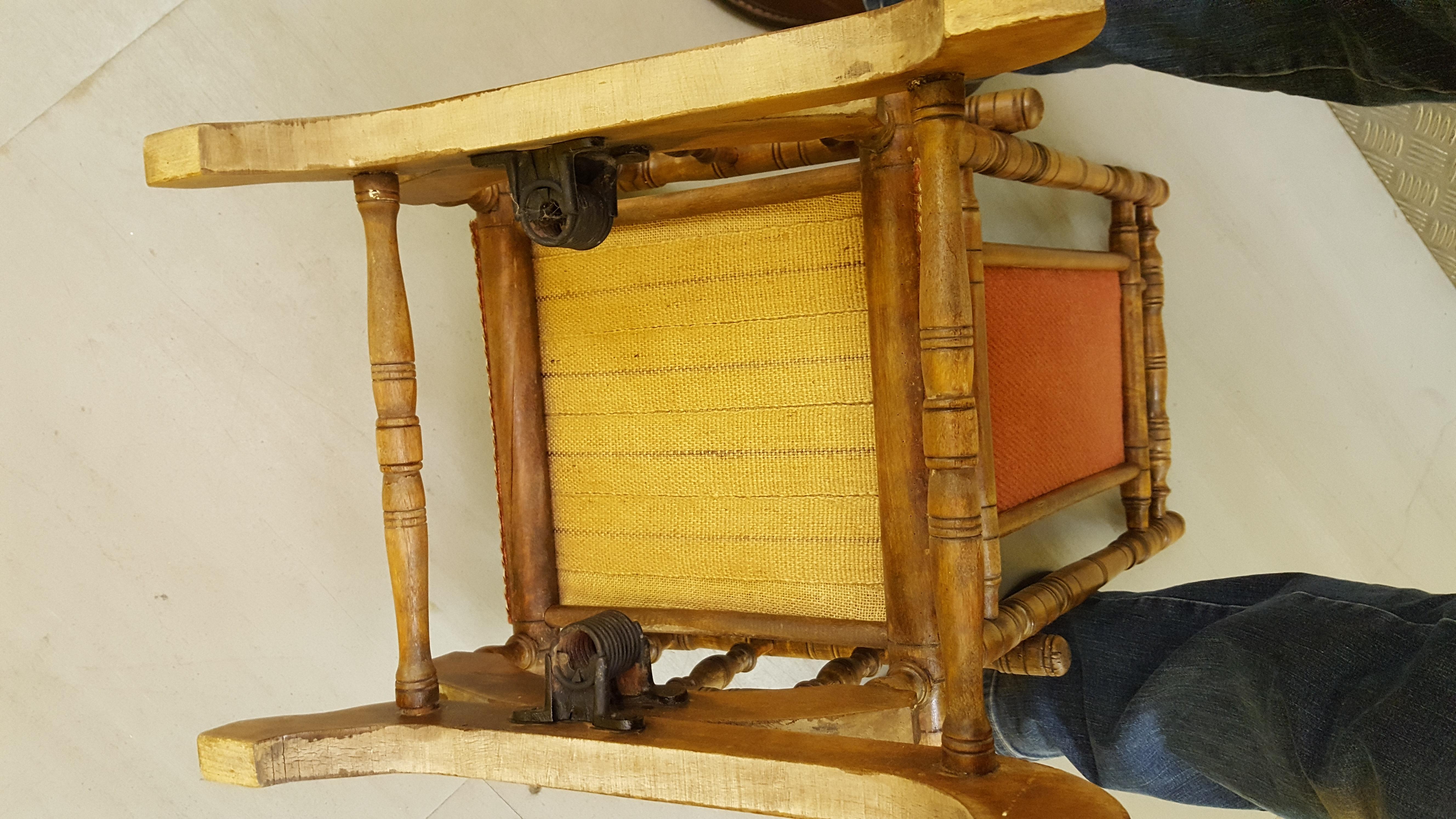 Lot 60 - Antique Vintage Child Bobbin Turned Rocking Chair