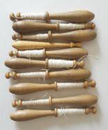 Lot 55 - 10 Vintage Wooden Lace Bobbins 7cm to 10cm long NO RESERVE
