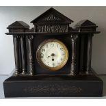 Antique Vintage Black Slate Mantel Clock