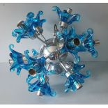 Vintage Retro Sputnik Ceiling Light & 2 Wall Lights Mid 20th Century With Large Murano Style Shades