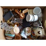 Antique Vintage Retro Box of Assorted China Treen Pottery & More NO RESERVE