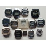 Vintage Retro Parcel of 14 Collectable LCD Watch Stainless Steel Watches (no straps) NO RESERVE