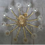 Vintage Retro 3 Chandeliers Gold Coloured Metal With 5 Wall Lights