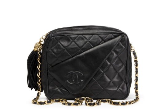 3c5eb1ae5574 Chanel Black Quilted Lambskin Vintage Timeless Fringe Camera Bag ...