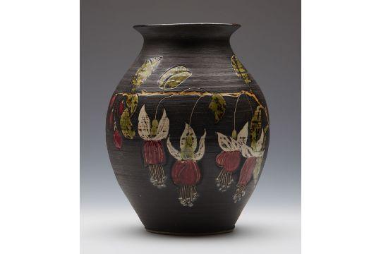 Vintage Marazion Studio Pottery Fuschia Design Vase By G H Nash C