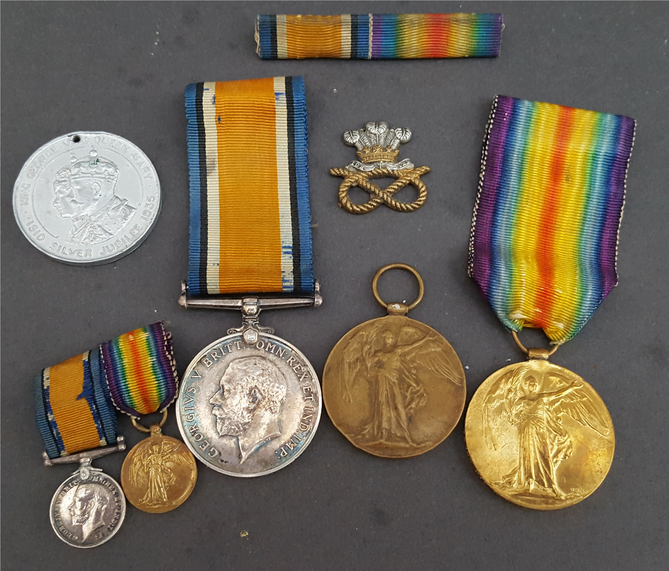 Lot 9 - Military Medals WWI PT G. Thompson 18307 Cheshire R. Pt. H Hill 73180 Welsh R. Plus Miniatures