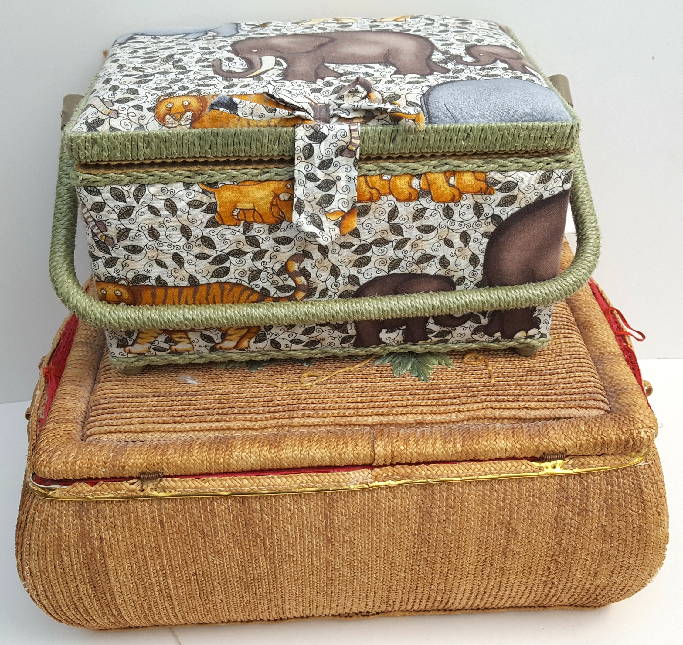 Lot 12 - Vintage Retro 2 x Sewing Baskets & Any Contents NO RESERVE