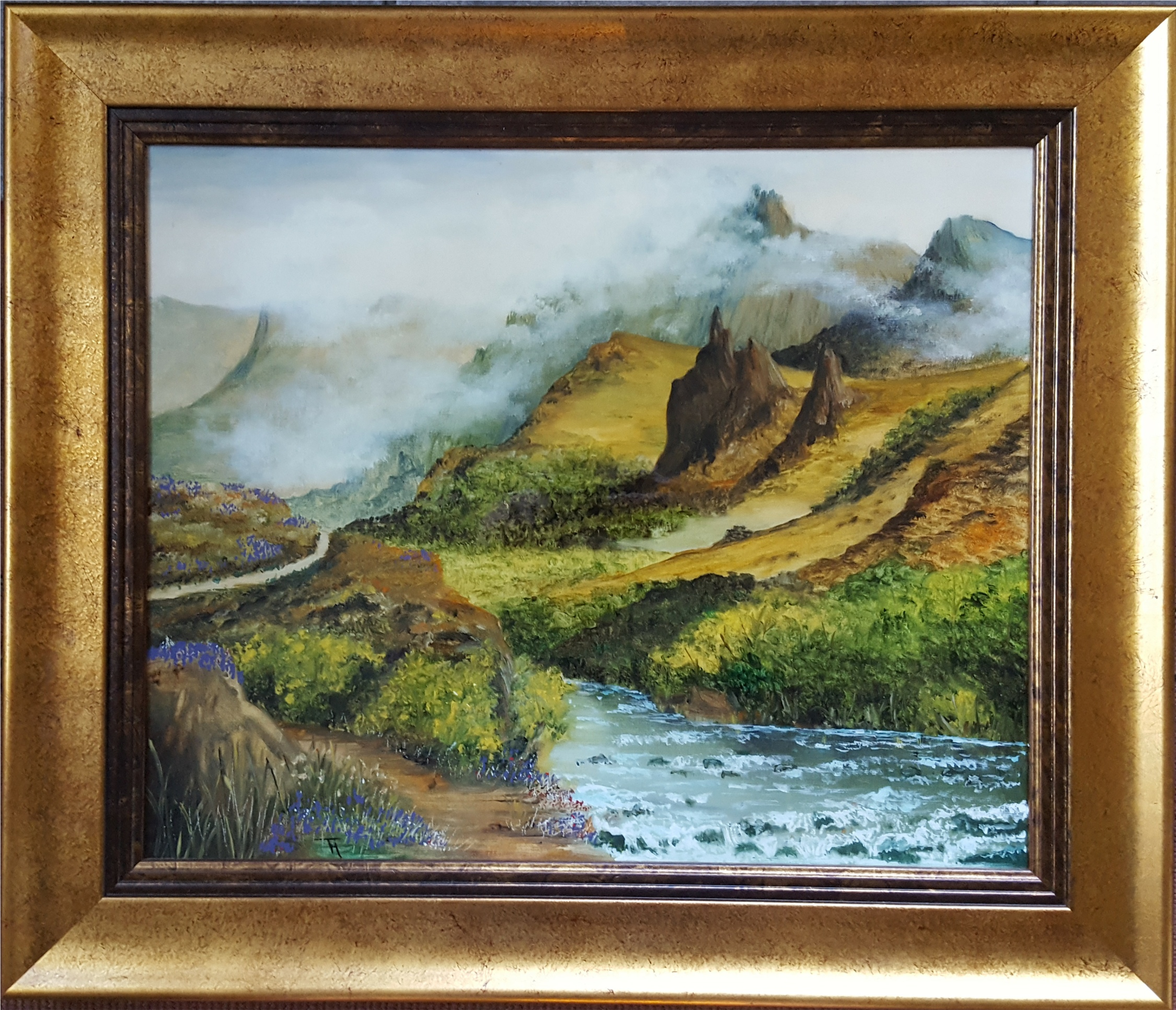 Lot 7 - Collectable Modern Art Oil on Canvas Scottish Highland Scene Munro c1976