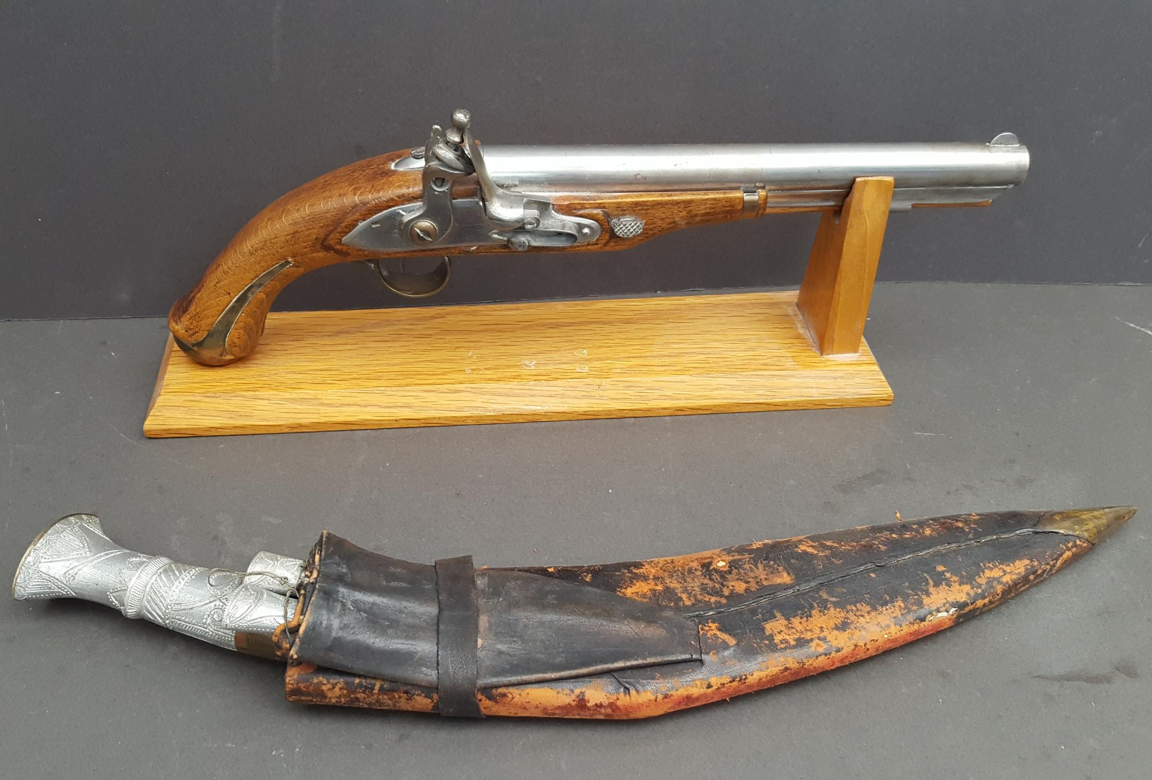 Lot 29 - Vintage Military Items Replica Flintlock Pistol & Gurkha Kukri Knife
