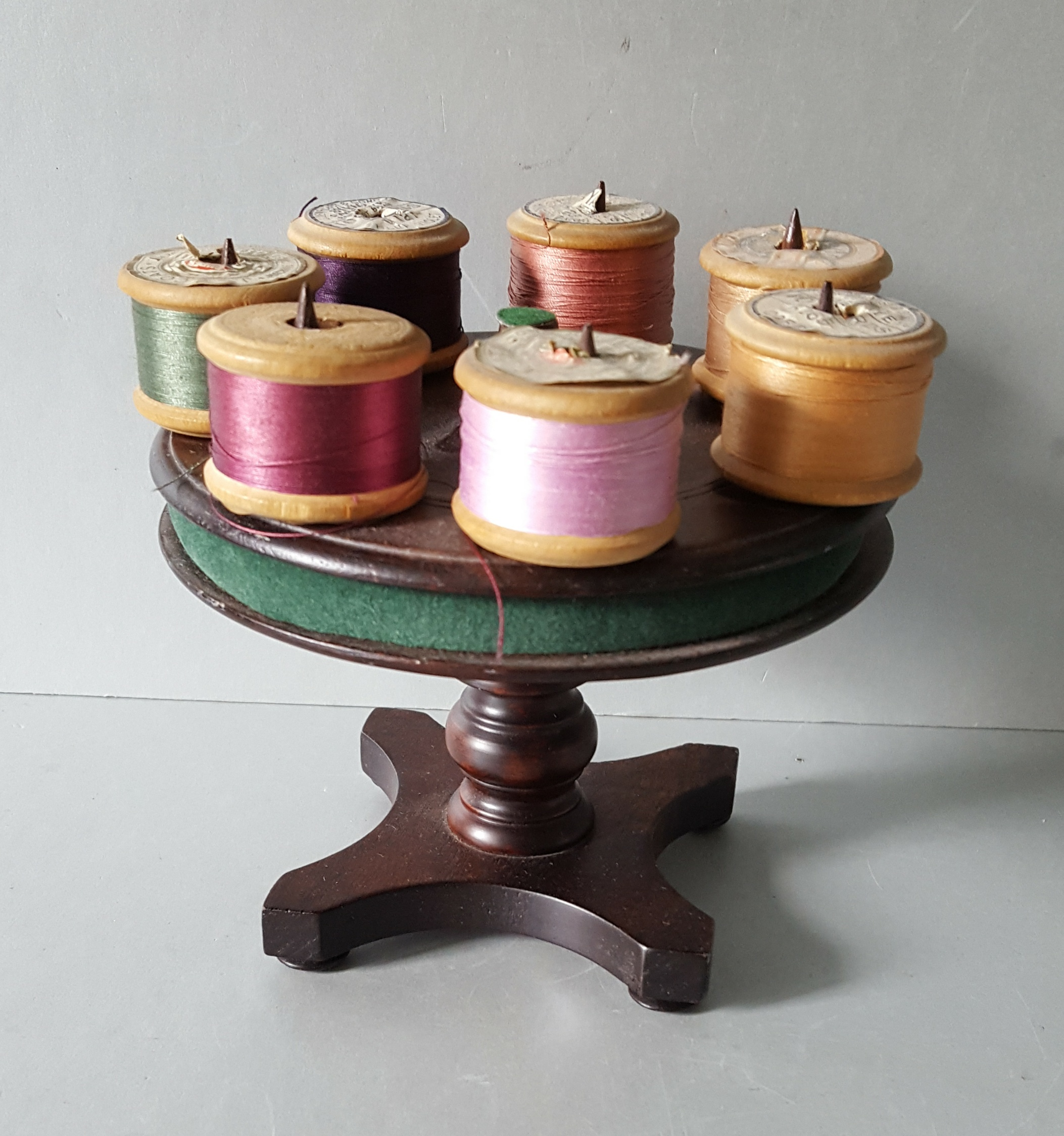 Lot 16 - Antique Vintage Wood Turntable Cotton Reel Holder & 3 Boxes
